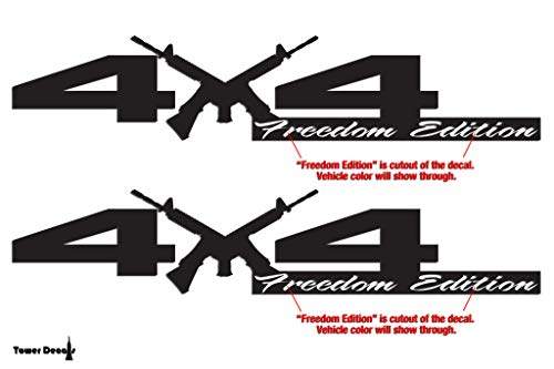 4x4 Freedom Edition AR15 M4 Fits Dodge Bedside Vinyl Decals Lime Green 0235