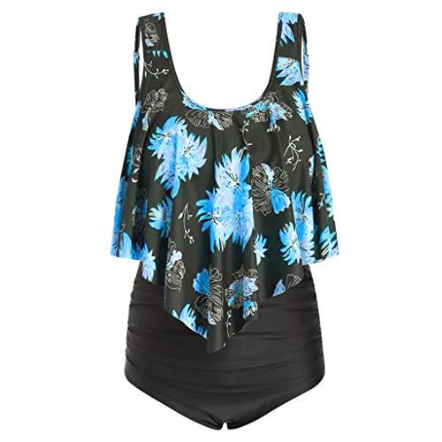 KPILP Womens Plus Size Swimwear Floral Print Ruffle Flounce High Waisted Swimsuit Ladies Oversized Beachwear Boho Bikini Set Tummy Control Holiday Bathing Suit(Blue,L)