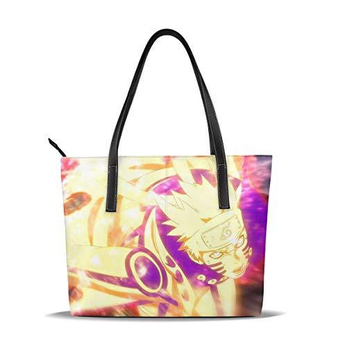 Anime Uzumaki Naruto Handtasche für Damen und Herren, Schultertasche, mit Reißverschluss, PU-Leder, Reißverschluss oben