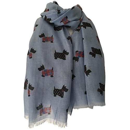 918e08fef4a Purple Possum® Scottie Dog Scarf Blue Scottish Terrier Dogs Red Tartan  Polka Dot Jackets Wrap