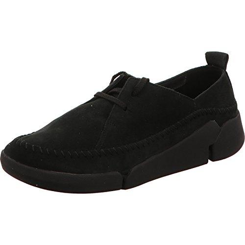 Clarks Tri Angel, Damen Low Top Sneakers, Schwarz (Black Combi Lea), 37.5 EU (4.5 Damen UK)