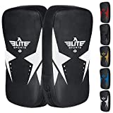 Elite Sports Muay Thai Kickboxing Pads MMA Knee and Elbow Target Kicking Strike Shield Pair for Martial Arts (White)