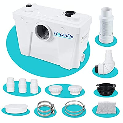 FLO500 Macerator Pump for Macerating Toilet, Sump Pump Waste Water Sink Marine Toilet Disposal Laundry Basement Toilet Pump (500watt)