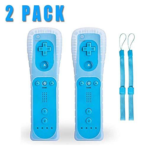 Wii Controller Remote, TechKen Remote Game Wireless Controller mit Silikonhülle und Armband, Wii Fernbedienung, für Nintendo Wii und Wii U&PC, blau 2 Pack