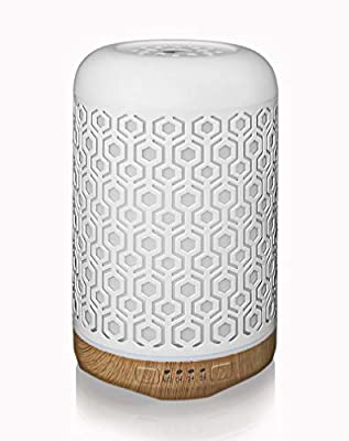 Ansin Essential Oil Diffuser,250ml Iron-art Ultrasonic Humidifier Aromatherapy Oil Diffuser with 4 Timer Mode & 7 Color Changing LED Lights, BPA-Free Waterless Auto-Off for Home,Office and Yoga-White