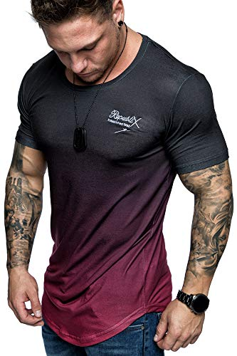 REPUBLIX Oversize Herren Crew Neck Body-Fit Waterfall Design Shirt Sommer T-Shirt Rundhals-Ausschnitt R-0037 Schwarz/Bordeaux L