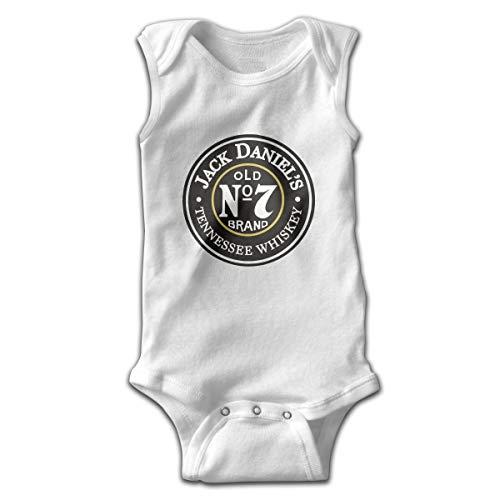 Jack Da-nie-ls Old No.7 Newborn Infant Sleeveless Bodysuits Toddler Baby Girls Boys Jumpsuit Romper One-sies (0-2T), 2 Colors White