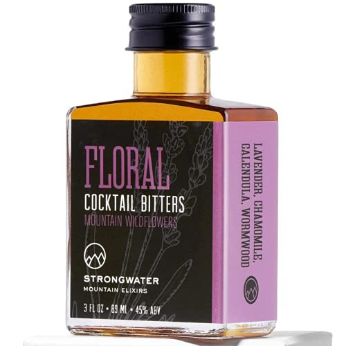 Strongwater Floral Bitters (40 Servings) - Herbal Bitters for Old Fashioned made with Lavender, Chamomile, Calendula & Wormwood - Pair with Gin or a Vodka Martini