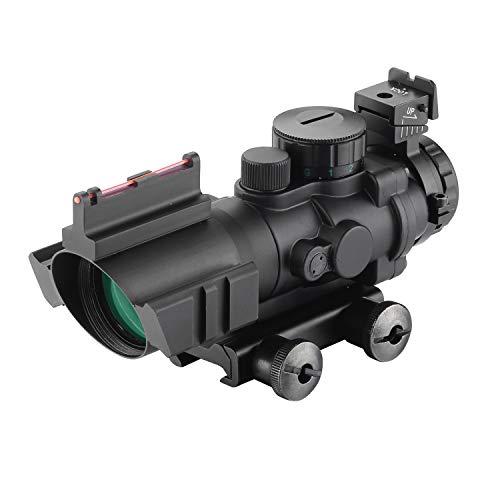 ESSLNB Zielfernrohr 4x32mm Airsoft Red Dot Visier Leuchtpunktvisier mit Fiberoptic und 20mm/22mm Montage für Luftgewehr Jagd Softair und Armbrust