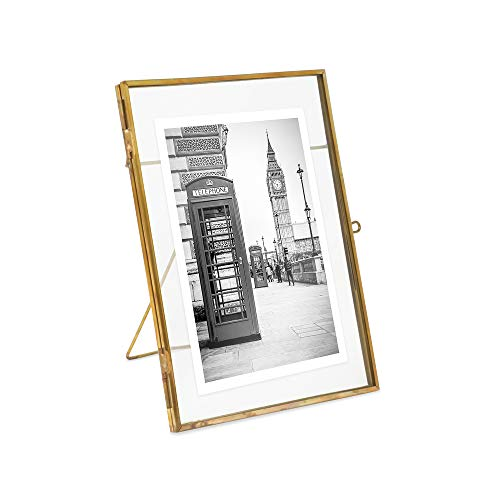 Isaac Jacobs 5x7, Antique Gold, Vintage Style Brass and Glass, Metal Floating Picture Frame (Vertical) with Locket Closure, for Photos, Art, More, Tabletop Display (5x7 Antique Gold)