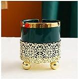 Cenicero de cerámica de hierro forjado Cigarrillos Puros Titulares de cenizas para el hogar habitaciones de hotel Oficinas Etc Exquisitas decoraciones de escritorio cenicero de cigarro-A_Green