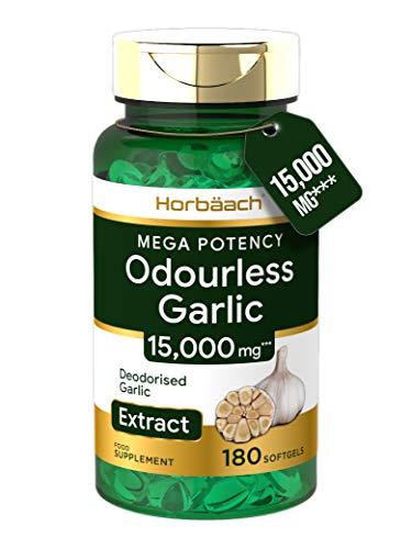 Odourless Garlic Oil 15,000mg   180 Softgel Capsules   High Strength   Deodourised   Healthy Heart Supplement   Non-GMO, Gluten Free