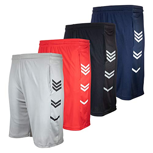 High Energy Long Basketball Shorts for Men, 4 Pack, Sports, Fitness, and Exercise, Athletic Performance, Pack 211, X-Large