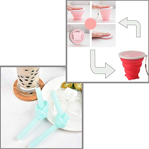 KINDOYO Silicone Collapsible Cup and Bowl Set - with Fork and Straw Retractable Tableware for Outdoor Camping Picnic, Red