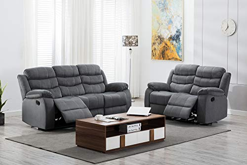 Kingway Modern Fabric 3pcs Reclining Set for Living Rooms Upholstered Manual Motion Couches Sofas, 3+2 SEAT, Gray
