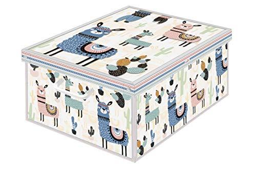 Kanguru Collection Lama Caja de Almacenamiento en cartòn Lavatelli, Lamas, facil Montaje, Resistente, 39x50x24cm, Grande