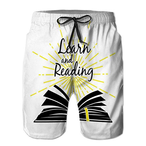 Shorts para Hombre Shorts de Playa de Secado rápido Bolsillos Watershort Libro...