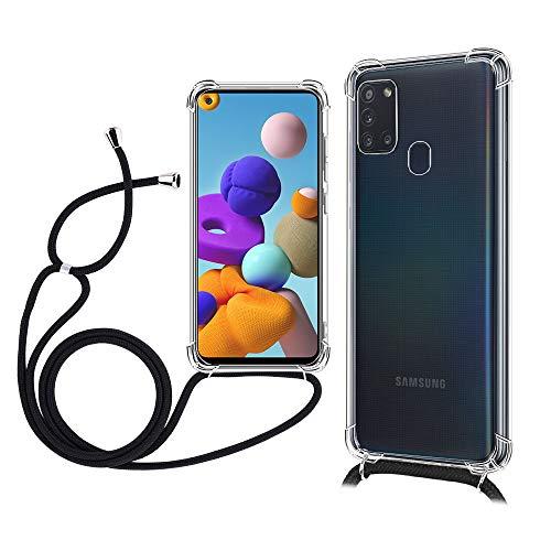 TOPACE Hülle mit Lanyard für Samsung Galaxy A21s, [Ultra Dünn] [Stoßfest] Klar Weiche TPU Schutzhülle für das Samsung Galaxy A21s(Schwarz)