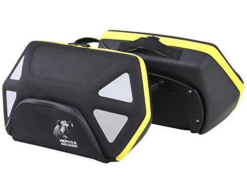 H&B Motorrad Satteltaschen für Motorrad Taschen Seitentaschenpaar Royster 24 Liter für C-Bow schwarz/gelb, Unisex, Multipurpose, Ganzjährig, Polyester