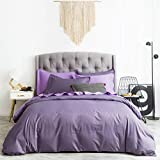 SUSYBAO 3 Pieces Duvet Cover Set 100% Natural Cotton King Size Solid Lilac Purple Bedding Set with Zipper Ties 1 Duvet Cover 2 Pillow Shams Luxury Quality Ultra Soft Breathable Comfortable Durable