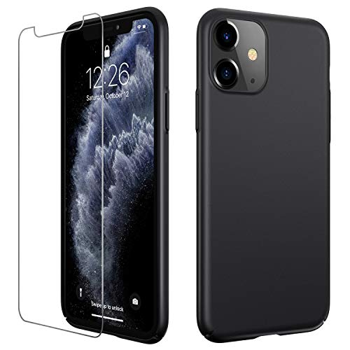 Meifigno Ultra Thin Designed for iPhone 11 Case [with Tempered Glass Screen Protector], Hard Plastic Full Protective Case, Slim Fit Matte Cover Compatible with Apple iPhone 11 6.1 Inch 2019, Black