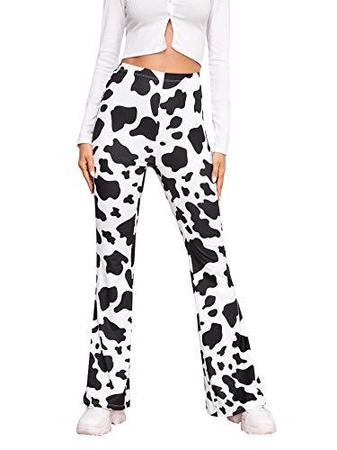 WDIRARA Women's Elastic High Waist Rib Knit Flare Leg Solid Casual Long Pants Black and White Cow S