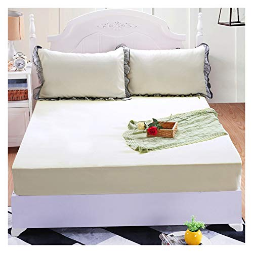 LJP Mattress Cover Single Sided Waterproof Breathable Fitted Bed Cover With Skirt Soft Washable Comfort Durable Cotton (Color : Beige, Size : 150x200cm)