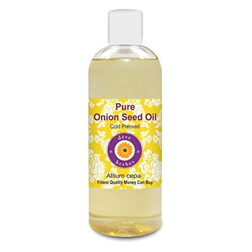 Deve Herbes Pure Oignon Seed Oil (Allium cepa) 100% naturel de qualité thérapeutique pressé à froid pour les cheveux, le cuir chevelu, la peau et le massage 200ml (6.76 oz)