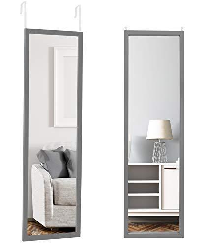"Estilo Over The Door Mirror Full Length Mirror Wall Mirror Shatterproof 47""x 13"" (Gray)"