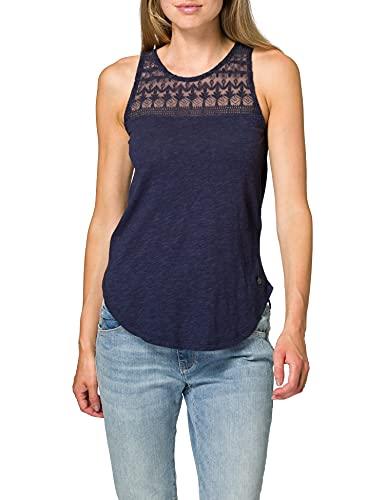 Eight2Nine Damen feminines Top mit Spitze Trägershirt/Cami Shirt, Dark Navy, M