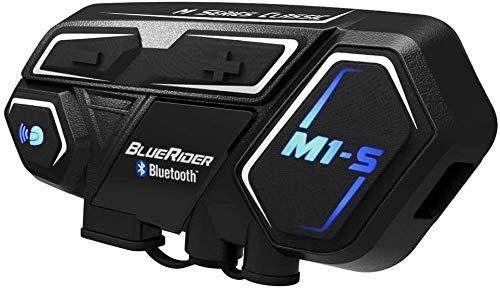 Bluerider Motorrad Bluetooth Headset, Helm Intercom 4,1 bis zu 8 Reiters, CVC Rauschunterdrückung, Wasserdicht Vollduplex, 10 Std Sprechzeit, 2KM Reichweite, für Siri Google Assistant