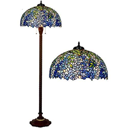 Lámpara de pie estilo Tiffany de 20 pulgadas, color azul, de Wisteria Shade de de 3 luces, base antigua para dormitorio, salón o lectura.