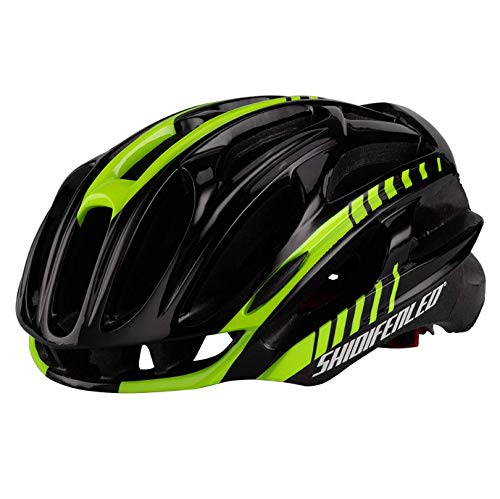 WangsCanis Adult Bike Helmet, Lightweight Airflow Bicycle Helmet for Road Cycling & Mountain (Black Yellow, One Size)