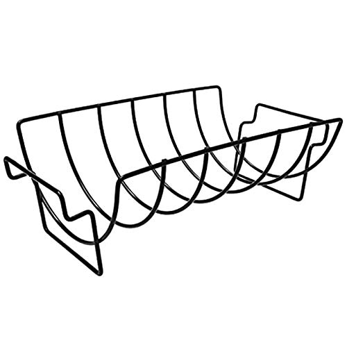 PQZATX Grill Rib Rack für BBQ, Gro?Er Antihaft-Edelstahl Rib Roast Rack Halter zum Grillen für 6 Rib Rack (Schwarz)