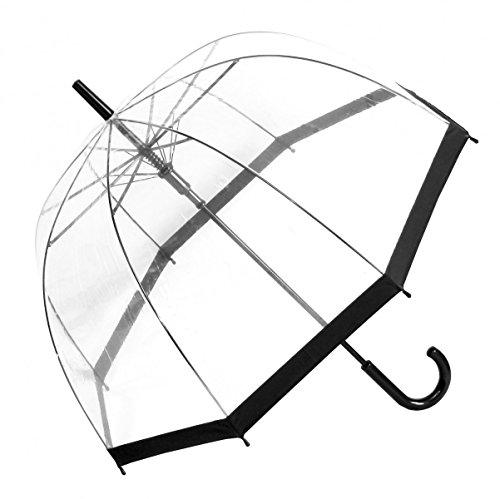 Regenschirm Transparent Durchsichtig Glockenschirm Automatik schwarzer Rand