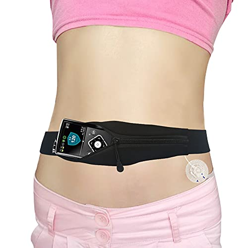 Adult Diabetic Belt Discreet Insulin Pump Holder with Hole for Tubing, Adjustable Ultra Light T1D Medical Band Accessories for Medtronic, Tandem, Dexcom, Glucose Monitor, Epipens Men Women (Large)
