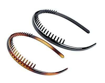 Set of 2 Zig Zag Black Plastic Sharks Tooth Hair Comb Headband (Black/brown)