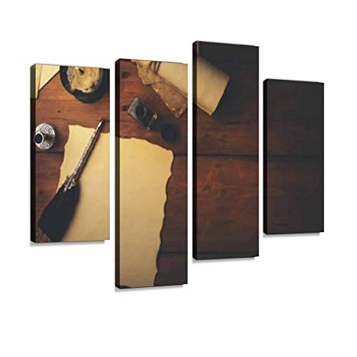 IGOONE 4 Panels Canvas Paintings - quill Pen and Old Parchment Paper on Brown Wooden Table top View - Wall Art Modern Posters Framed Ready to Hang for Home Wall Decor