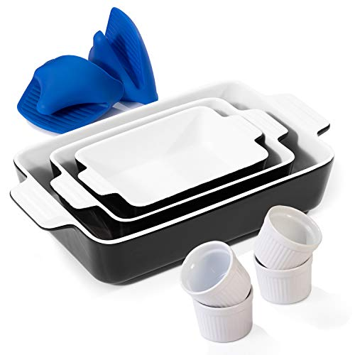 Bakeware Sets Includes 3 Ceramic Rectangular Nonstick Casserole Dish, 4 Porcelain Ramekins and 1 Pair of Mini Silicone Oven Gloves(7 Piece)