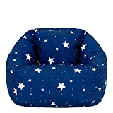 icon Kids Bean Bag Chair, Navy Blue Stars, Large Indoor Outdoor Bean Bag Chairs for Kids, Kids Bean Bags for Girls and Boys with Filling Included, Nursery Decor Bedroom Accessories