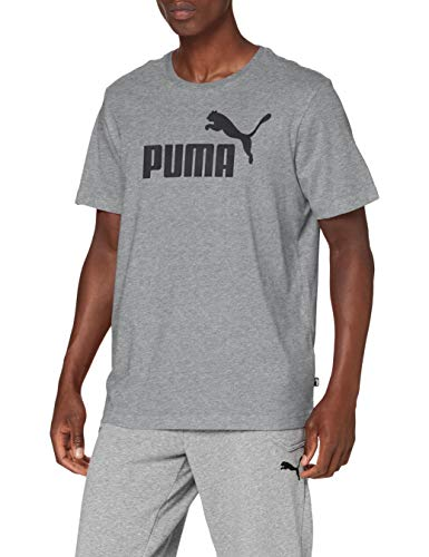 Puma Essentials LG T Camiseta de Manga Corta, Hombre, Gris (Medium Gray Heather), L