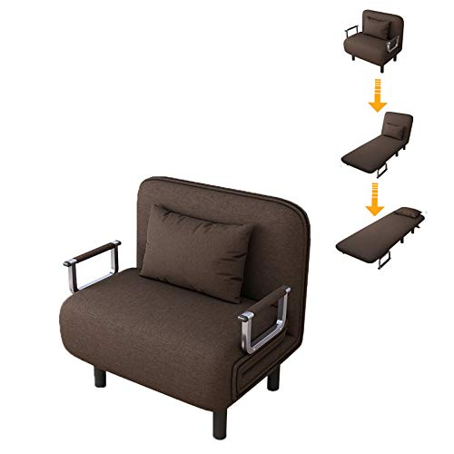 Sofa Bed Twin Size Folding Sofa Bed Portable Sleeper Chaise Lounges with Detachable Armrest,Lroplie Arm Chair Sleeper Leisure Recliner Lounge Couch (Coffee 1)