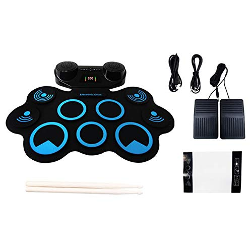 LVSSY-Portable Electronic Drum Pad Bluetooth Wireless Transmission Technology Stereo Surround Dual Speakers Kids or Beginner