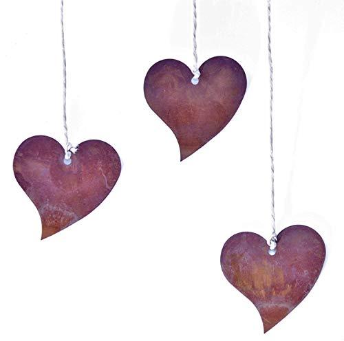 Rostikal | Edelrost Deko Herz | Rostdeko Herzhänger Metall Blech Herzen zum Aufhängen | 12er Set 5 cm
