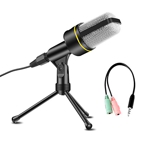 USHAWN Condenser Microphone Professional Recording Mic with Tripod Stand for Broadcasting, Chatting, Interview, Video Conference, YouTube Recording, Your PC, Laptop and Phones