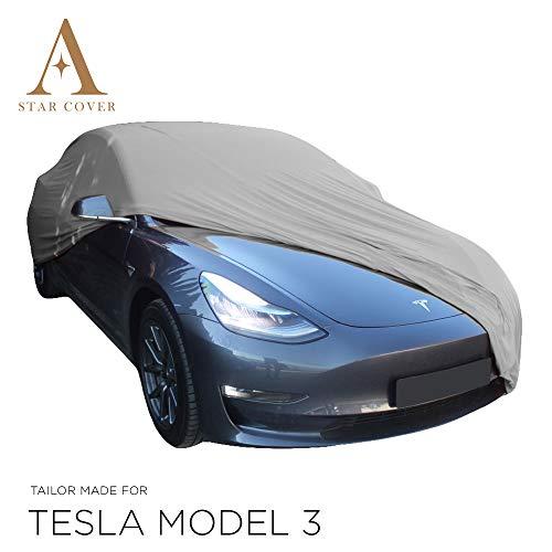 Star Cover Funda DE Coche para EL Interior A Medida Tesla Model 3   Gris Cubierta DE Coche Interior   Lona Garaje para Auto   Funda DESCAPOTABLE, Coche CLÁSICO, Coche Deportivo   Entrega RÁPIDA