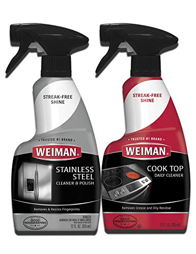 Weiman Stainless Steel Cleaner and Cooktop Daily Cleaner - 12 Ounce - Kitchen Appliance Kit