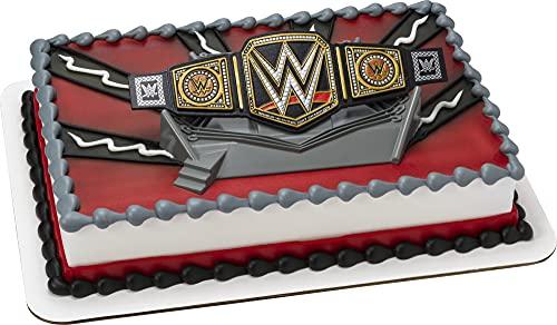 DecoSet® WWE Wrestler Championship Ring Cake Topper, 2-Piece Decorations Set with Wrestling Belt and Base