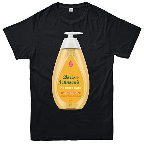 KTRS Short Sleeve Boris Johnson's & Johnson Baby No More Tiers T-Shirt, Funny Cool Retro Gift Shirt Top Black S