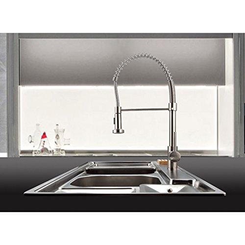 Timaco Wasserhahn Küche Einhandmischer für Küchen Spüle Gebürsteter Nickel Geschirrbrause Federbrause Mischbatterie Küchenarmatur Spültisch Armatur - 8